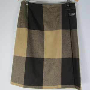 Vtg Eddie Bauer 12 Tall Brown Plaid Wool Skirt